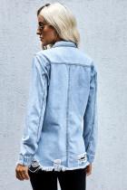 Veste en jean déchirée bleu délavé