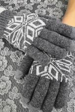 Mitaines à écran tactile à motif de mode grises