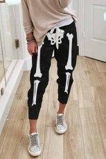 Pantaloni da jogging neri in vita elastica con coulisse con stampa teschio di Halloween