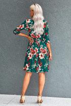 Grønn blomstret 4/3 ermet kjole