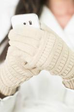 Gants d'hiver en tricot beige avec patch en daim