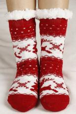 Piros karácsonyi nyilatkozat nyomtatott kötött zokni