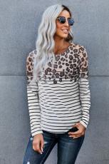 Haut à manches longues imprimé léopard rayé