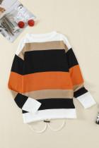 Pletený svetr oranžový Colorblock