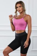 Rózsaszín vezeték nélküli zökkenőmentes sport jóga melltartó terménytartály