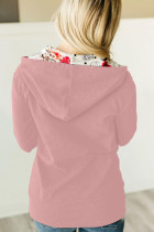 Rózsaszín, teljes cipzáras kapucnis kabát virágmintás kapucnis belsővel