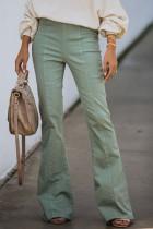 Zielone spodnie jeansowe z wysokim stanem