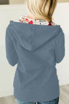 Teljes cipzáras kapucnis kabát virágmintás kapucnis belsővel