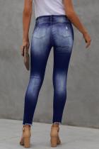 Blå, høyhøyet knapp Frayed Ankel Skinny Jeans