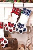 Kék kutya karom csont alakú karácsonyi kockás nyomtatás függő zokni