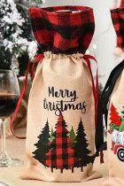 Merry Christmas Plaid Tree Sac de bouteille de vin