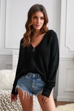 ブラックジッパーVネックドロップスリーブフード付きソリッドセーター