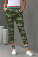 Rainbow Stripe Green Camo Casual Housut
