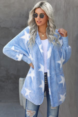 Sky Blue Lapel Collar Scatter Star Fuzzy Coat