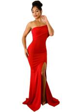 Red Off The Shoulder Jedna sukieneczka z rozcięciem Maxi na bal