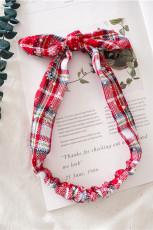 Jul flerfarget Plaid Snowflake Print Bowknot Headband