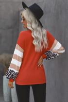Orange Leopardenstreifen mit V-Ausschnitt, Spleißlaternen-Ärmeloberteil