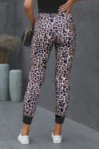 Joggers con tasca in cotone leopardato marrone