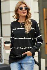Tie-dye Stripes Black Sweatshirt