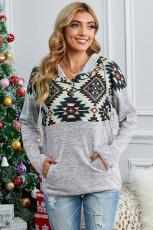 Sweats à capuche gris à imprimé géométrique tribal avec poche