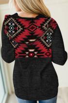 Svart tribal hettegenser med geometrisk trykk med lomme