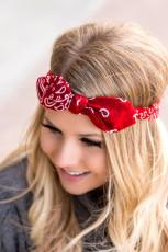 Rødt Floral Print Bowknot Headband