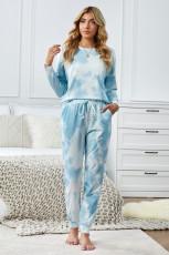 Sky Blue Tie Dye Knit s dlouhým rukávem Joggers Set