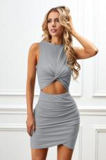 Grey Twist Knot Front Cutout Bodycon Dress