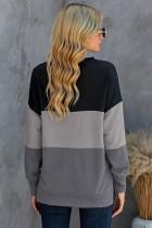 Czarna bluza Colorblock z kontrastowymi przeszyciami i rozcięciami
