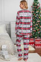 Set pigiama natalizio abbottonato con colletto rosso per camicia