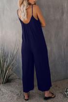 Mørkeblå jumpsuits med brede ben og spaghetti
