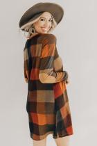 Brun rutig miniklänning med rund hals och lång ärm
