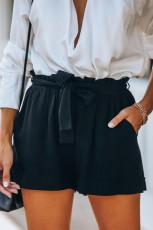 Musta puuvillaiset taskut paperipussi vyötärö shortsit
