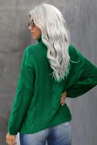 Grüner übergroßer Rollkragenpullover mit strukturiertem Rollkragenpullover