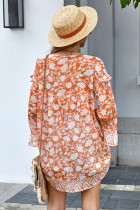 Pomarańczowa swobodna tunika z nadrukiem Boho
