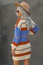 Flerfarget Color Block kabelstrikket genser kjole