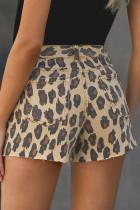 Leopard-keskivyötäröiset kuluneet helma Jean-shortsit