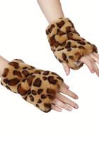 Gants chauds sans doigts en fausse fourrure imprimé léopard kaki