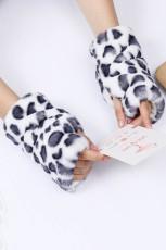 Gants chauds sans doigts en fausse fourrure imprimés léopard blancs
