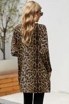 Brun Leopardtryck Långärmad Casual Top