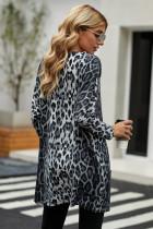 Szürke leopárdmintás hosszú ujjú alkalmi felső