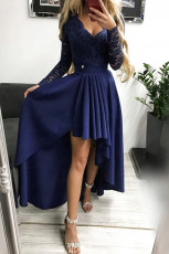 Granatowa suknia wieczorowa z dekoltem w szpic, bez pleców, z wysokim i niskim brzegiem