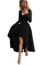 Czarna koronkowa sukienka z dekoltem w szpic, bez pleców, z wysokim i niskim brzegiem