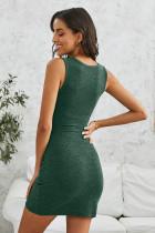 Grön Twist Knot Bodycon-klänning framtill