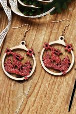 赤いクリスマスツリートナカイスタースパンコールウッドイヤリング