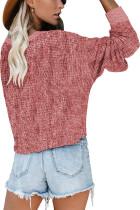 Růžový pletený svetr s dlouhým rukávem s hlubokým výstřihem do V