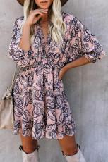 Rosa Rüschen Tiered Babydoll Style Minikleid