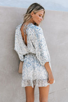Sky Blue Ruffle Tiered Babydoll Style Minikleid