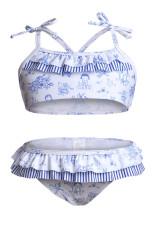 Cute Print Toddler Girls Bikini Badetøj med flæse