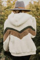 Bézs Alfie Chevron kapucnis Sherpa kabát